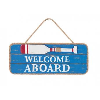PANCARTE 13 x 31 cm  WELCOME ABOARD