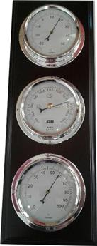 STATION METEO BARO-THERMO-HYGROMETRE 3 CADRANS CHROME SUPPORT BOIS