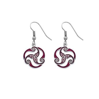 PENDANTS OREILLES MOTIF CELTIQUE 3136 ROUGE