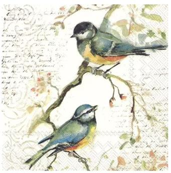 SERVIETTES PAPIER LUNCH 33x33cm Happy little Titmice
