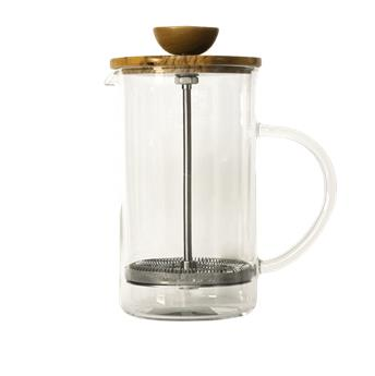 THEIERE VERRE 600ML A PISTON EN BOIS D OLIVIER