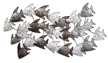 SCULPTURE BANC DE POISSONS GM GRIS
